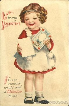 Little Girl receiving a Valentine Series 502 Love to my Valentine. I knew Someone would send a Valentine to me