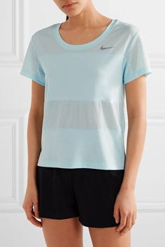 Nike - City Dry Paneled Dri-fit Stretch-jersey And Mesh T-shirt - Sky blue -