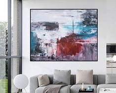 Original Large Abstract paintings By Professionals by WallAbstract Large Artwork, Original Artwork, Abstract Paintings, Abstract Art, Beautiful Homes, Etsy Seller, Tapestry, The Originals, House Of Beauty