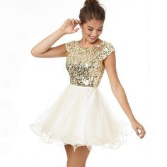 2015 Prom Homecoming Dresses Under Vestidos Gold Organza Short Party Dress For Girls Vestido