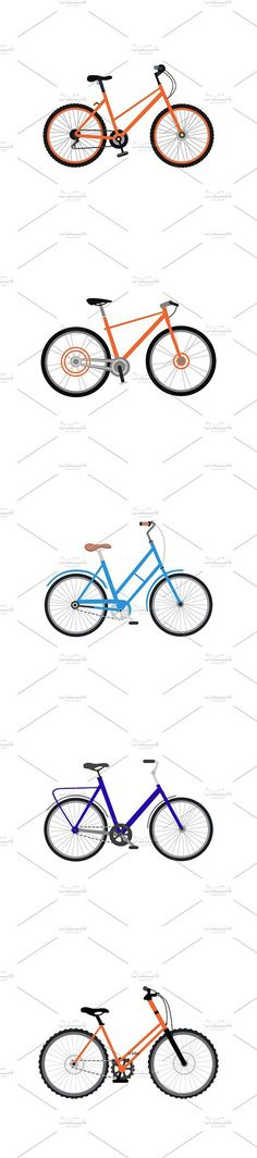 Set of Bicycle Design Flat Isolated. Sport Icons. $5.00