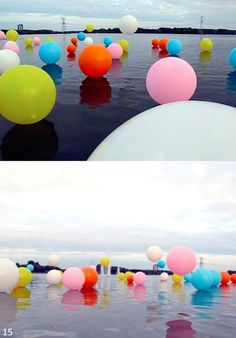 Balloons on the water floating - Light them up! Floating Balloons, Floating Lights, Balloon Lights, Floating In Water, House Of Balloons, Big Balloons, Birthday Balloons, How To Make Balloon, Love Balloon