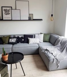 Living Room Styles, My Living Room, Plank, Nordic Style, Sweet Home, New Homes, Couch, Bedroom, Wood