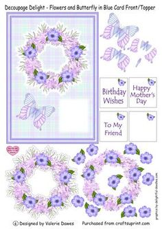 Decoupage Delight Flowers and Butterfly in Blue on Craftsuprint designed by…