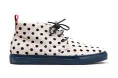 Del Toro White Pony Hair Black Polka Dot Alto Chukka Sneaker: The latest piece of footwear to join Del Toro's continually growing Miami-based stable is a bold Chukka Sneakers, Fly Shoes, Women's Shoes, Shoe Sites, Vegan Handbags, Pony Hair, Painted Shoes, Pretty Shoes, Shoe Game