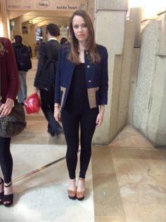 H&M Veste -  ZARA Legging - ZARA Sandales, Spartiates #women #mode #look #streetstyle http://moodlook.com/look/2014-04-02-france-paris-11