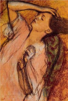 Combing the Hair - Edgar Degas Start Date: c.1892 Completion Date:c.1895 Style: Impressionism Genre: sketch and study Technique: pastel Gallery: Private Collection