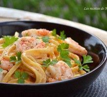 Recette - Pâtes linguine aux crevettes, sauce crémeuse à l'ail, paprika fumé et citron - Proposée par 750 grammes