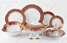 Чехия Столовый сервиз Обеденный сервиз, Столовый сервиз фарфоровый (обеденный сервиз), Красный листик, Royal Czech Porcelain, Столовые сервизы, набор, , Болеро