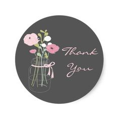 Pink and Grey Mason Jar Wedding Favor Stickers