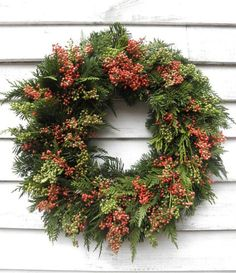 Lush clusters of red pepperberries make this wreath like none other. Christmas Door, Christmas 2017, Outdoor Christmas, Christmas And New Year, Christmas Holidays, Christmas Wreaths, Christmas Decorations, Xmas, Holiday Decor