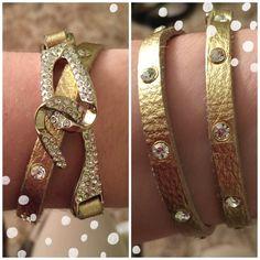 """Gold wrap bracelet Gold with silver """"jewels"""" wrap bracelet. Worn a few times. Costume jewelry. Jewelry Bracelets"""