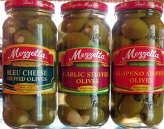 Mezzetta Stuffed Olives Variety Gift Pack (Garlic, Bleu Cheese And Jalapeno Stuffed Olives) - http://mygourmetgifts.com/mezzetta-stuffed-olives-variety-gift-pack-garlic-bleu-cheese-and-jalapeno-stuffed-olives/