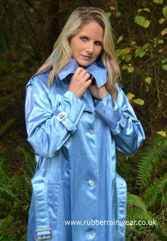 Caroline - oh so darned gorgeous in her blue satin mack.