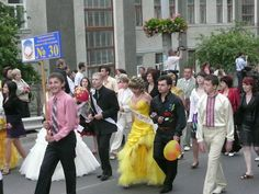 Today, May 12, is a high school graduation day in Ukraine. Proms are everywhere!  The best high school graduation ceremony I have ever seen in my life was in the city of Ternopil. They have an amazing parade of graduates! Dressed up graduates from each high school, along with their teachers, orchestra, performers and local authority representatives are walking through the central street downtown to the city stadium where a graduation ceremony is taking place.