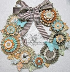 Paper crafting, paper flower wreath