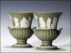 Pair of Wedgwood Sage Green Jasper Ware Urns - Vintage ~ from ah. on Ruby Lane