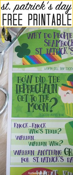 SO CUTE! Pack these FREE PRINTABLE jokes for kids in with their lunchbox for St. Patrick's Day! My kids LOVE getting little lunchbox notes, especially for the holidays!! This is a fun and popular idea!