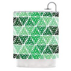 """KESS Original """"Celtic Knot Green"""" Forest Mint Shower Curtain"""