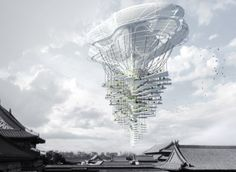 Light Park Floating Skyscraper Ting Xu, Yiming Chen Coming in third place, this design for Beijing imagines a skyscraper that brings parks and other green spaces to heavily developed areas. Architecture Durable, Architecture Design, Architecture Magazines, Organic Architecture, Floating Architecture, Classical Architecture, Ancient Architecture, Landscape Architecture, Futuristic City