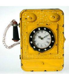 Reloj cualgallaves teléfono metal amarillo