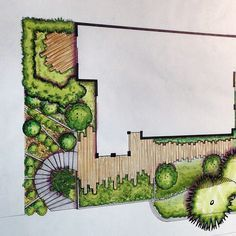 is a great example of how markers can be used to create a detailed rendered landscape design involving texture and lighting. Croquis Architecture, Landscape Architecture Drawing, Landscape Sketch, Garden Design Plans, Modern Landscape Design, Garden Architecture, Landscape Plans, Landscape Drawings, Modern Landscaping