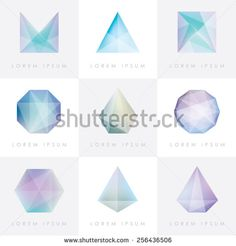premium colorful collection set of trendy soft mesh facet crystal gem geometric logo icons and abstract shapes for business visual identity- triangle, polygons and rectangular designs - stock vector
