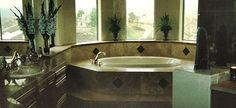 Custom tile bathroom, tub, tile shower, tile flooring, tile countertops,