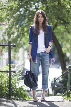 boyfriend jeans, vintage blazer with sleeves rolled up, Dries van Noten shirt and leopard mules