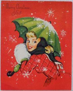#1236 50s Pin Up Girl w/ Umbrella-Vintage Christmas Greeting Card