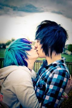 """Couple :-)  girl - blue and purple hair.  boy - black and blue hair, side swoop.  (add for both genders piercings and dark eye make-up). Emo boy and girl look for the Anime Emo Punk Tech Movement of 2054 in book series, """"The Biodome Chronicles""""  by Jesikah Sundin (see board for """"Legacy"""", """"Elements"""" and """"Gamemaster"""")"""