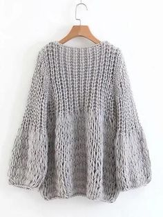 New gray knit sweater with V-neck and long sleeves , New Grey V-neck Long Sleeve Going out Cardigan Sweater , punt i ganxet Source by siolluna Crochet Cardigan, Knit Crochet, Pullover Sweaters, Sweater Cardigan, Sweater Dresses, Grey Sweater, Cardigans, Crochet Capas, Big Knits