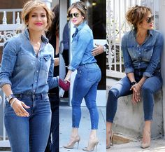 Rosie Huntington-Whiteley Classy Work Outfits, Classic Outfits, Chic Outfits, Jennifer Lopez Jeans, Basic Wear, All Jeans, Celebrity Outfits, Denim Outfit, Winter Fashion Outfits