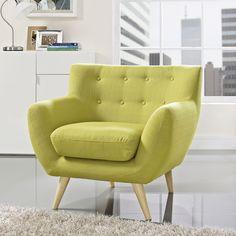 Modway Remark Mid Century Armchair (Wheatgrass), Yellow (Fabric)