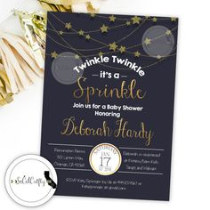 Twinkle Twinkle It's A Sprinkle Baby Shower Invitation by socalcrafty on Etsy. Printed or Digital. $16+
