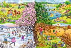 Four Seasons - jigsaw puzzle pieces) Seasons Kindergarten, Kindergarten Pictures, Science Art, Science And Nature, Four Seasons Art, English Creative Writing, Picture Composition, Puzzle Art, Cartoon Pics