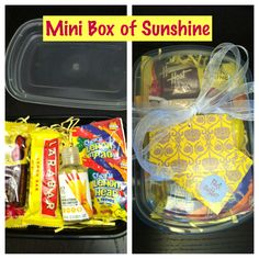 Another box of sunshine idea using recycled to-go containers! Nice little gift for co-workers or teachers!