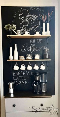 Cool DIY coffee station ideas that you can make at using old furniture at home Tags coffee station ideas coffee bar ideas DIY coffee station beverage bar beverage station Coffee Area, Coffee Nook, Coffee Bar Home, Home Coffee Stations, Coffe Bar, Coffee Coffee, Coffee Corner Kitchen, Coffee Cups, Coffee Bar Ideas