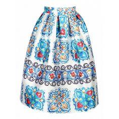 Choies Multicolor Retro Totem Print Midi Skater Skirt (£24) ❤ liked on Polyvore featuring skirts, multi, skater skirt, retro skirts, midi skirt, retro midi skirt and flared midi skirt