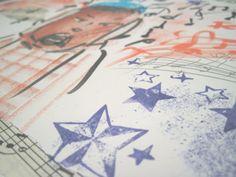 Collage DinA4 Weihnachtslieder aus allen Ecken .  von BuchenStab auf DaWanda.com