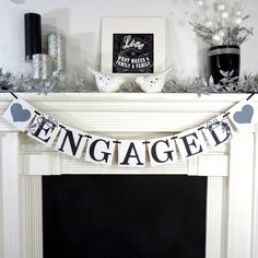Engaged / Wedding Banner / Garland- Sign- Engagment Photo / Photo Prop- Wedding Decoration- Signage- Reception Decor / You Choose the Colors. $19.75, via Etsy.