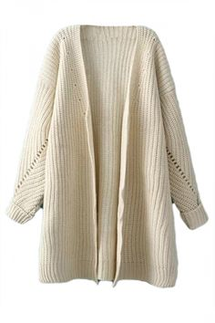 Beige Oversized Womesn Knitted Slit Thick Sweater Plain Cardigan - PINK QUEEN