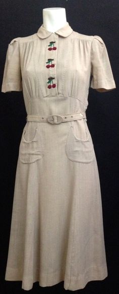 1940s dress with embroidered cherries!