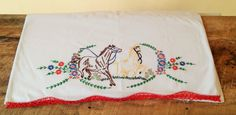 Vintage Hand Embroidered Horse Pillowcases by theindustrycottage on Etsy