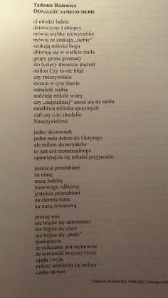 """Tadeusz Różewicz, """"Odnaleźć samego siebie"""""""