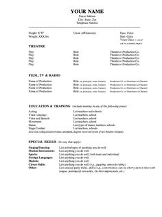 High School Acting Resume Template - http://www.resumecareer.info ...