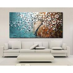 Modern Abstract Art Oil Painting On Canvas Wall Decor Flower Tree No Frame G3U2