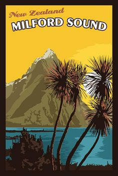 Items similar to Milford Sound New Zealand - Vintage Travel Poster on Etsy Poster On, Poster Prints, Art Print, Tourism Poster, Milford Sound, Best Places To Travel, Travel Alone, Vintage Travel Posters, Illustrations