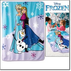 """Avon Frozen Musical Blanket This 40"""" x 50"""" musical blanket plays """"Let It Go."""" Ages 3 and up. Fleece. Remove musical box to machine wash and dry."""