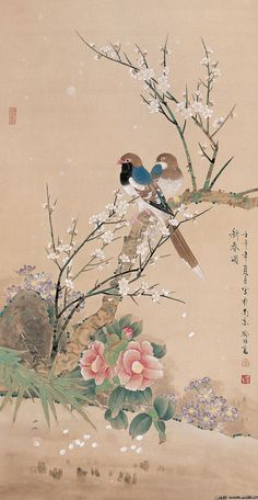 cultureincart of Today New Year Author mividayyo Tr s gentil Bonjour Vous Scrib Japanese Painting, Chinese Painting, Japanese Art, Bird Artwork, Art Japonais, Korean Art, China Art, Watercolor Bird, Ancient Art